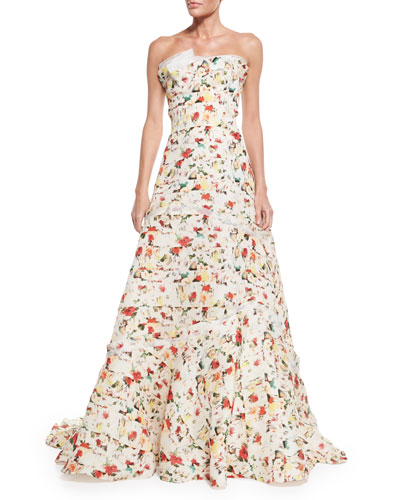 Strapless Layered Floral-Print Gown, Multi Colors