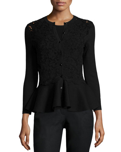 Lace-Inset Button-Front Peplum Cardigan, Black