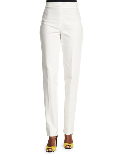 Carolina Herrera Mid-Rise Slim-Leg Pants, White