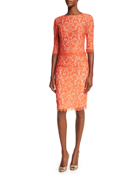 Carolina Herrera Elbow-Sleeve Lace Sheath Dress, Coral