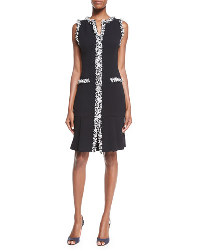 Carolina Herrera Sleeveless Shift Dress W/Tweed Trim, Black