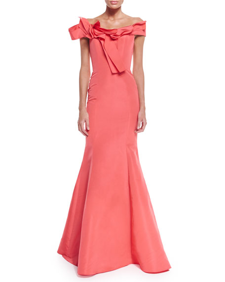 Carolina Herrera Off-The-Shoulder Mermaid Gown, Coral