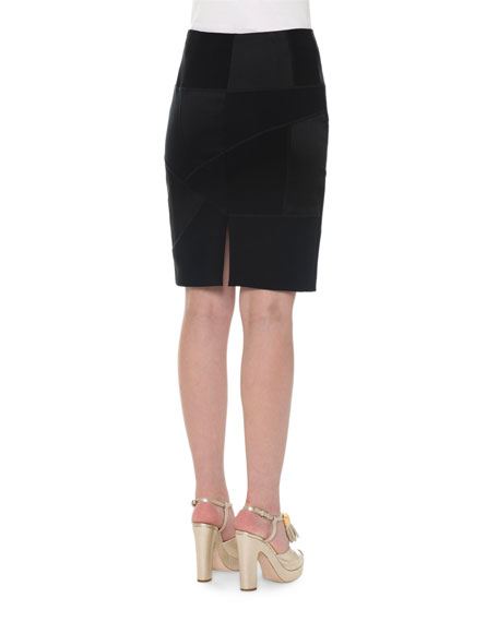 High-Waist Patchwork Pencil Skirt, Black