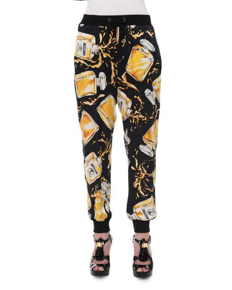 Moschino Perfume Bottle Jogger Pants, Black/Yellow
