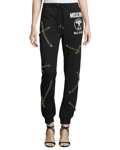 Moschino Multi-Chain Drawstring-Waist Jogger Pants, Black
