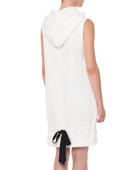 Sleeveless Hooded Sweatshirt Dress, White