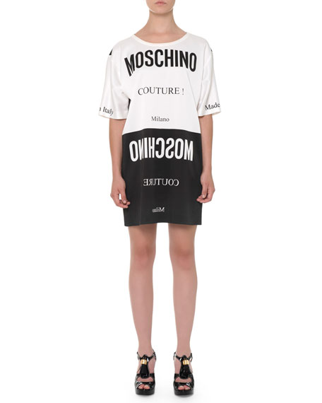 Moschino Colorblock Upside-Down-Tag Dress, Black/White