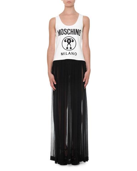 Moschino Sleeveless Pleated Maxi Dress, White/Black