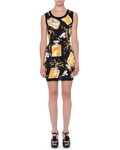 Moschino Perfume-Bottle Cashmere Sheath Dress, Black/Yellow