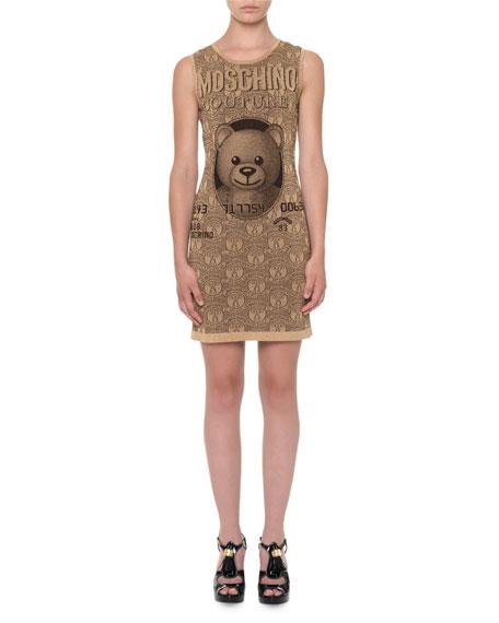 Moschino Sleeveless Teddy-Bear Sheath Dress, Gold