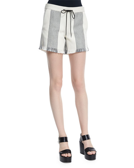 Derek Lam Striped Canvas Drawstring Shorts, Black/Natural