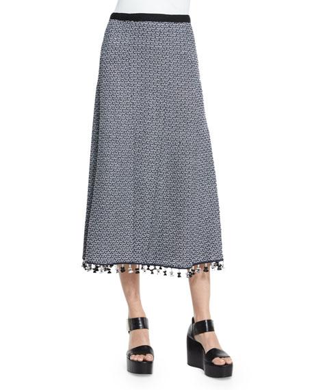 Derek Lam A-Line Crochet Skirt W/Fringe Hem, Navy/White
