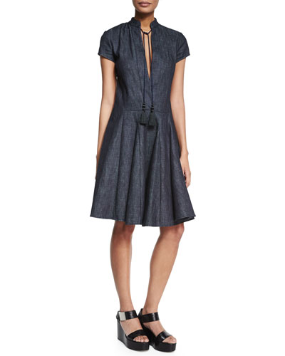 Short-Sleeve Fit-&-Flare Dress, Indigo