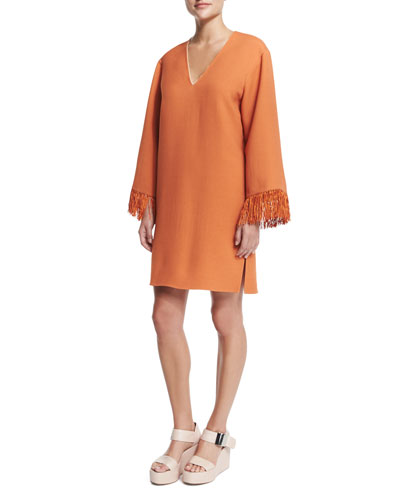 V-Neck Kimono Dress W/Fringe, Orange