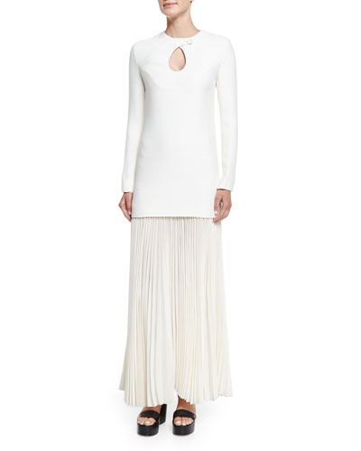 Derek Lam Long-Sleeve Cady Combo Gown W/Pleated Skirt,