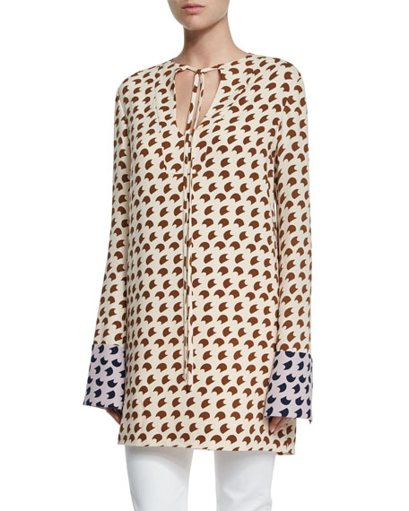 Derek Lam Long-Sleeve Crescent-Print Tunic, Shell/Root/Lavender