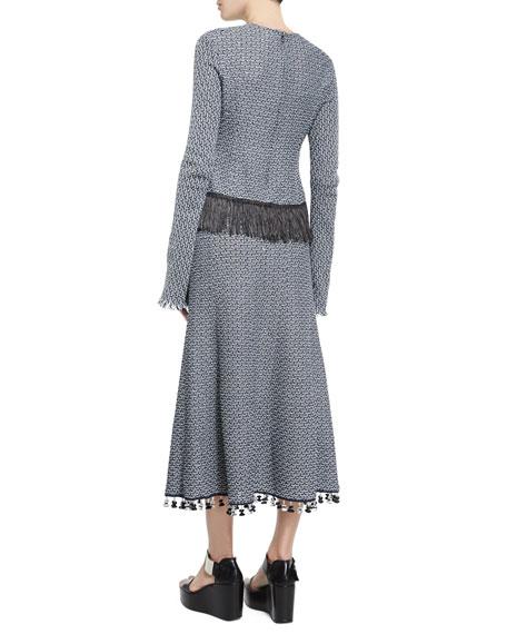 Long-Sleeve Crochet Top W/Fringe Hem, Navy/White