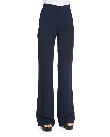 Derek Lam High-Waist Flare-Leg Trousers, Navy