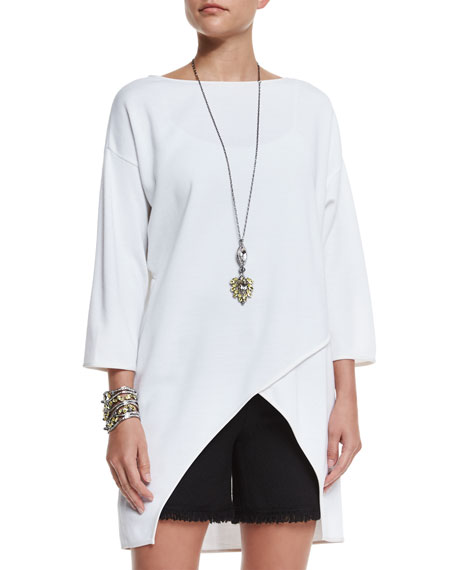 St. John Collection Milano Knit Crossover-Front Top, Bianco