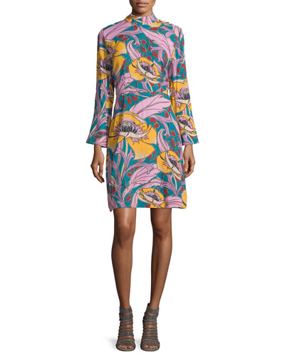Long-Sleeve Floral-Print Dress, Persian Green