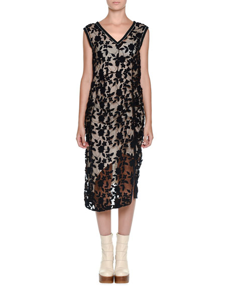 Marni Sleeveless Floral-Embossed Shift Dress, Black/Brown