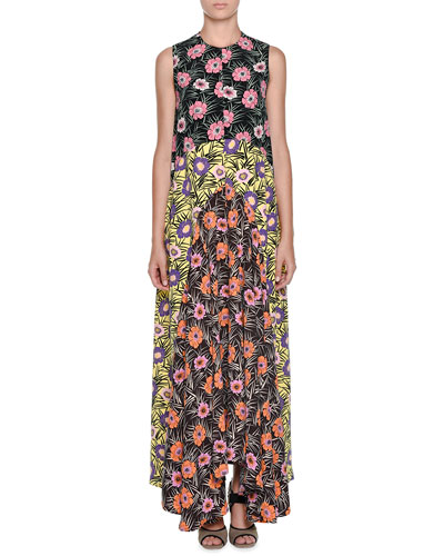 Colorblock Floral-Print Patio Dress, Black