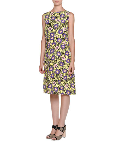 Sleeveless Floral-Print A-Line Dress, Acid