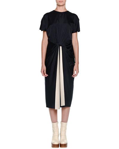 Cutaway-Sleeve Knotted-Waist Dress, Deep Blue