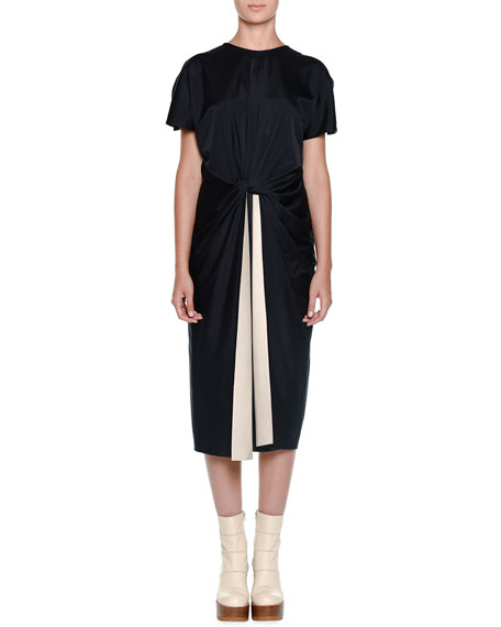 Marni Cutaway-Sleeve Knotted-Waist Dress, Deep Blue