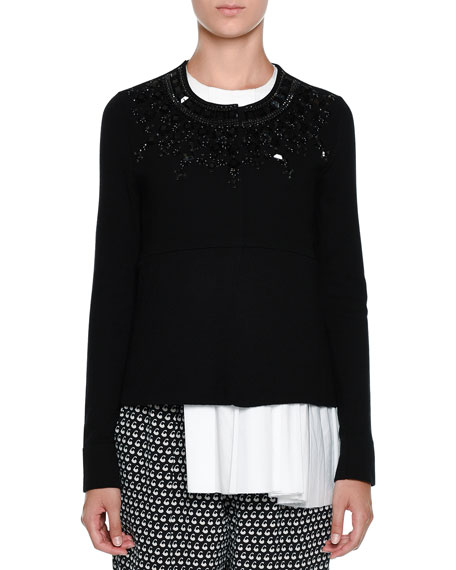 Marni Embellished Button-Front Sweater, Black