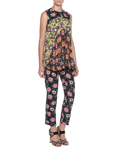 Flat-Front Floral-Print Cropped Pants, Black