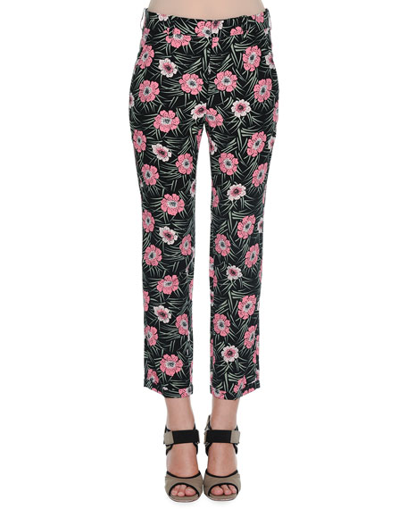 Marni Flat-Front Floral-Print Cropped Pants, Black