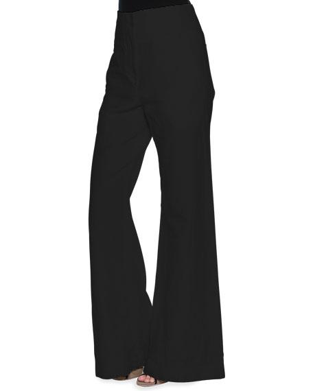Marni High-Waist Wide-Leg Pants, Black