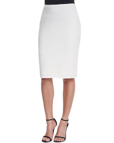 St. John Collection Bella Knit Pencil Skirt, Cream
