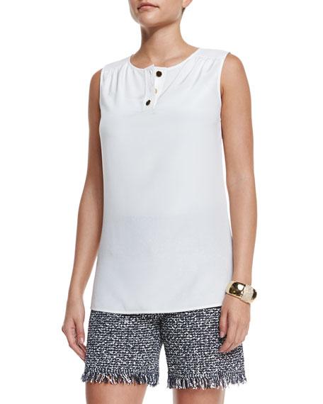 St. John Collection Stretch Silk Sleeveless Top, White
