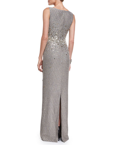 Bauble Knit Embellished Column Gown