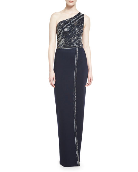 St. John Collection Matte Shine Milano Knit One-Shoulder Gown