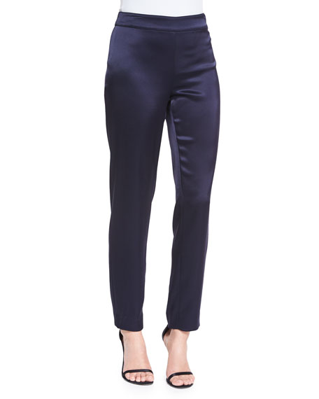 St. John Collection Liquid Satin Cropped Pants, Navy
