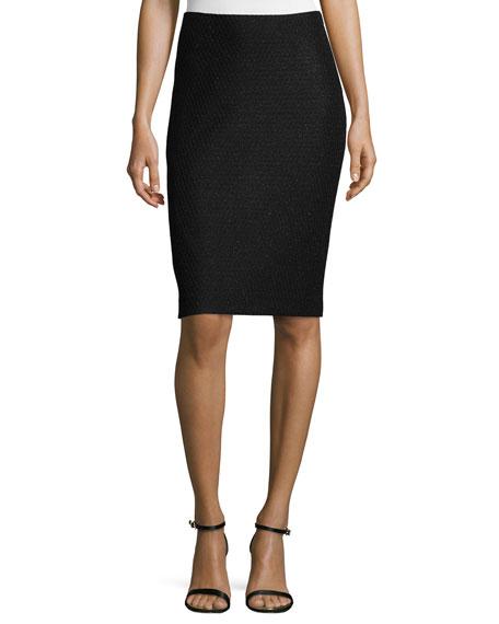 St. John Collection Shimmer Lattice-Knit Pencil Skirt, Caviar