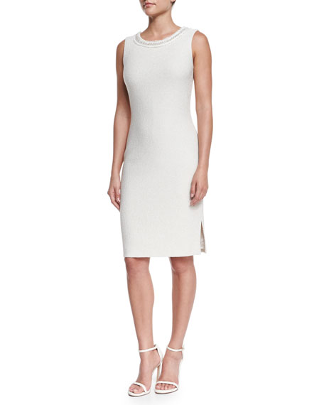St. John Collection Shimmer Boucle Knit Sleeveless Dress