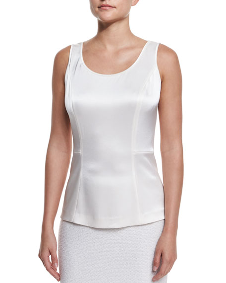 St. John Collection Liquid Satin Scoop-Neck Shell, Cream