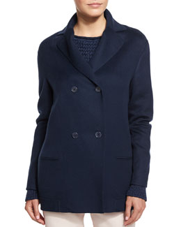 Rain Foster Cashmere Double-Breasted Peacoat, Blue Shadows