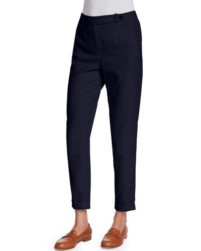 Loro Piana Jari Slim-Leg Cuffed Pants, Blue Shadows