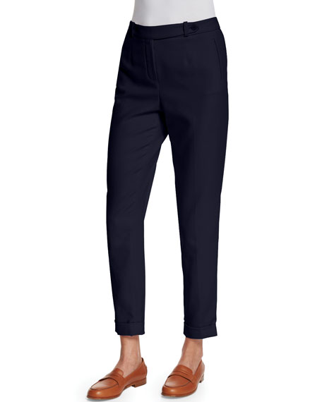 Loro Piana Jari Slim-Leg Cuffed Pants, Blue Shadows