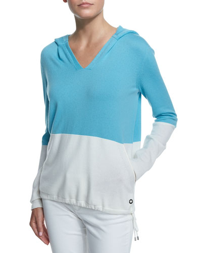 Colorblock Cashmere Hooded Pullover, Clear Lake/White