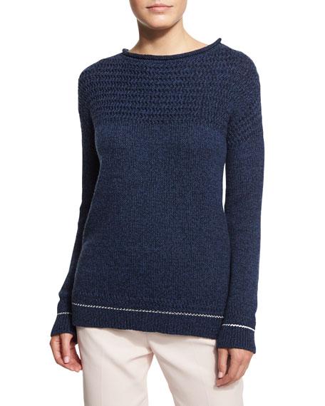 Loro Piana Ischia Button-Shoulder Sweater, Ombre Blue
