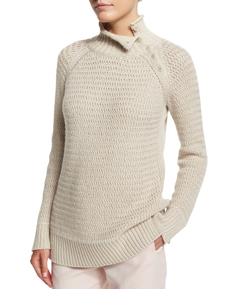 Loro Piana Salina Mock-Neck Long-Sleeve Sweater, Oats