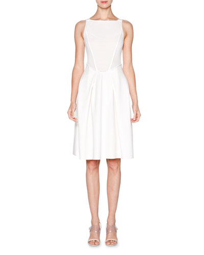 Sleeveless Fit-&-Flare Dress, White