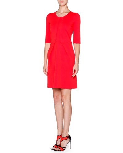 Half-Sleeve Stitch-Detail Dress, Scarlet