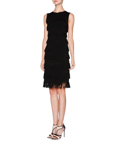 Sleeveless Layered-Fringe Dress, Black